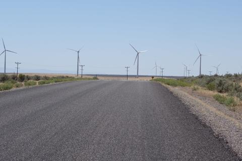 A wind farm next to the road.