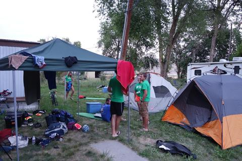 Tents and gear at Oasis campground.