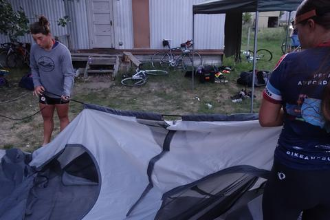 Breaking down tents for travel