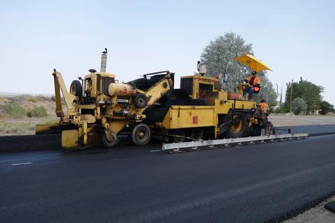 Paving machine in the middle of nowhere.