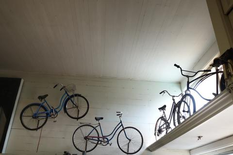 Bikes up on the wall