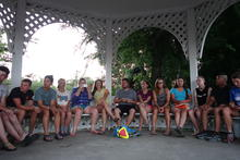 Town hall meeting in the gazebo.