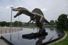 Dinosaur in front of the Clinton library