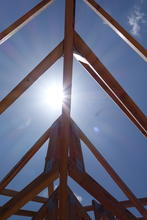 Roof trusses against the sun.