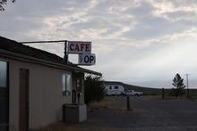Wagontire overview photo, showing cafe and RVs