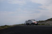 Asphalt truck trundling down the road